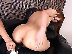 Rika Sakurai uses anal beads and gets fucked with dildo