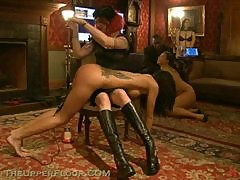 Hot Asian and Brunette Get Spanked and Suck Plenty Cocks In BDSM Vid