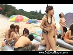 Group on beach slutty girl gets fingered