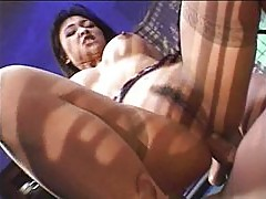 Huge titted Asian whore nailed black