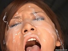 Rino Toma Asian doll enjoys masturbation and bukkake