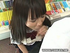 Schoolgirl sucking in a bookstore