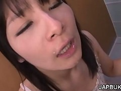 Deep throat on toilet with gagging Japanse girl