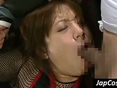 Tied up Jap cutie gets mouth fucked deep