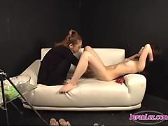 Asian Girl Getting Her Hairy Pussy Fisted On The Couch