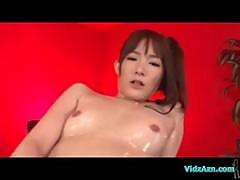 Asian Girl Oil On Body Giving Footjob Cum To Legs On The Bed In The Room