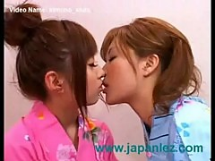 Japanese lesbian sluts wearing kimonos get it on