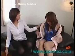 Nice chinese or japanese girl in stalkings gets dike sex