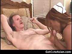 Asian Nurse Getting Her Tight Pussy
