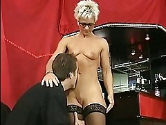Shorthaired mature takes it in both holes
