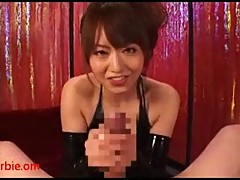 Japanese latex slut sucking & jerking POV