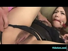 Asian Girl In Black Lingerie Mouthgagged Getting Her Shaved Pussy Fucked With Toys Sucking Guys On T