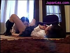 Asian Lingerie Licking Pussies on The Floor