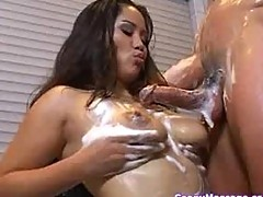 Jessica gives a hot soapy massage