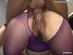 Purple pantyhose sex