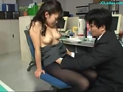Office Lady Fingered Giving Blowjob On Her Knees..