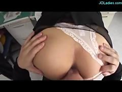 Office Lady In Pantyhose Fingered Sucking Cock..