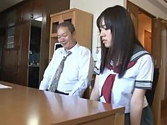 Old Man Toys a Very Busty Japanese School Girls Hairy Pussy
