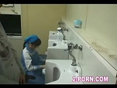 Cute cleaner gives blowjob in washroom 002
