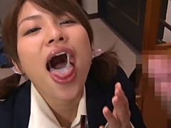 Naughty Asian Schoolgirl Licks Ass and Gives a Blowjob in POV Vid
