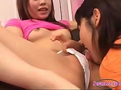 Asian Girl In Panty Getting Her Pussy Licked Rubbing In Scissor On The Couch In The Sitting Room