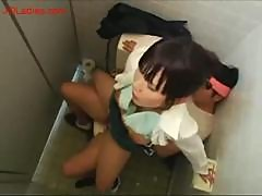 Busty Office Lady Getting Her Pussy Fucked Cum To Tits In The Public Toilette