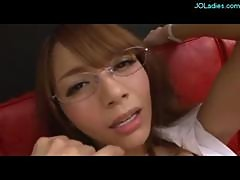 Hot Secretary With Glasses Fingered Giving..