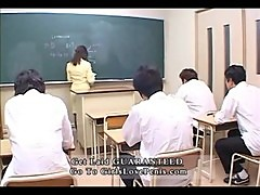 Hot Japanese teacher gangbang is your lesson