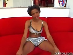 Naughty ebony bitch fucked by a huge brotha