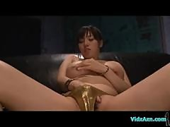 Busty Asian Girl Lotion On Body Fingering Herself Using Vibrator Sucking Guy On The Couch