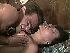 Nasty Asian chick sucks Caucasian cock