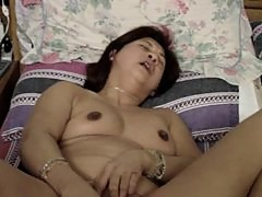 chinese horny exwife playing with self