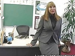 Big breasted teacher Ava Devine masturbates in the classroom